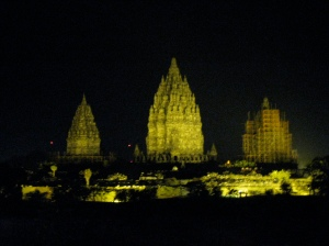 the Prambanan Temple at night